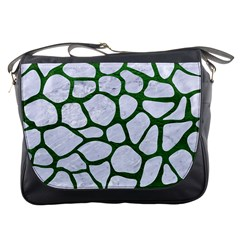 Skin1 White Marble & Green Leather Messenger Bags