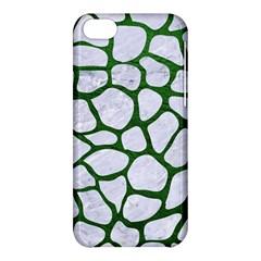 Skin1 White Marble & Green Leather Apple Iphone 5c Hardshell Case