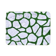 Skin1 White Marble & Green Leather Double Sided Flano Blanket (mini)