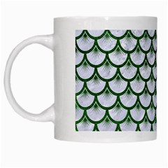 Scales3 White Marble & Green Leather (r) White Mugs