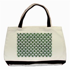 Scales3 White Marble & Green Leather (r) Basic Tote Bag (two Sides)
