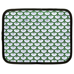 Scales3 White Marble & Green Leather (r) Netbook Case (large)