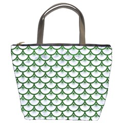 Scales3 White Marble & Green Leather (r) Bucket Bags
