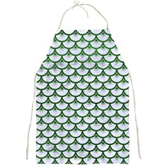 Scales3 White Marble & Green Leather (r) Full Print Aprons by trendistuff