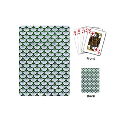 Scales3 White Marble & Green Leather (r) Playing Cards (mini)