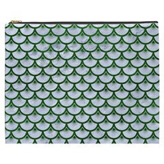 Scales3 White Marble & Green Leather (r) Cosmetic Bag (xxxl)