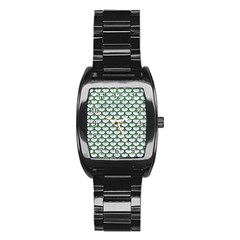 Scales3 White Marble & Green Leather (r) Stainless Steel Barrel Watch