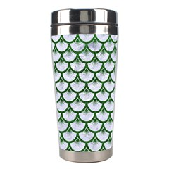 Scales3 White Marble & Green Leather (r) Stainless Steel Travel Tumblers