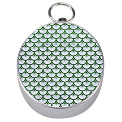 Scales3 White Marble & Green Leather (r) Silver Compasses