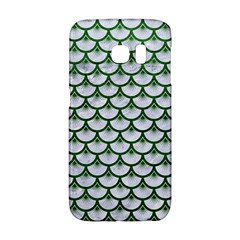 Scales3 White Marble & Green Leather (r) Samsung Galaxy S6 Edge Hardshell Case
