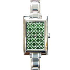 Scales3 White Marble & Green Leather Rectangle Italian Charm Watch