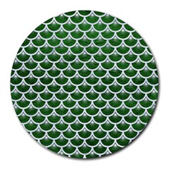 Scales3 White Marble & Green Leather Round Mousepads