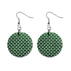 Scales3 White Marble & Green Leather Mini Button Earrings