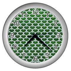 Scales3 White Marble & Green Leather Wall Clock (silver)