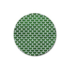 Scales3 White Marble & Green Leather Magnet 3  (round)