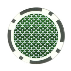 Scales3 White Marble & Green Leather Poker Chip Card Guard