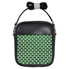 Scales3 White Marble & Green Leather Girls Sling Bags