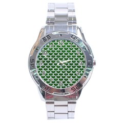 Scales3 White Marble & Green Leather Stainless Steel Analogue Watch by trendistuff