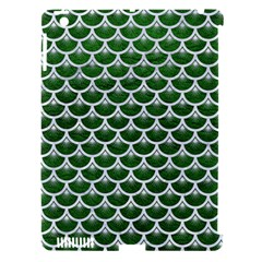 Scales3 White Marble & Green Leather Apple Ipad 3/4 Hardshell Case (compatible With Smart Cover)