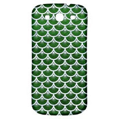 Scales3 White Marble & Green Leather Samsung Galaxy S3 S Iii Classic Hardshell Back Case