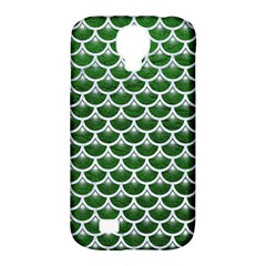 Scales3 White Marble & Green Leather Samsung Galaxy S4 Classic Hardshell Case (pc+silicone)