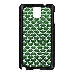 Scales3 White Marble & Green Leather Samsung Galaxy Note 3 N9005 Case (black)