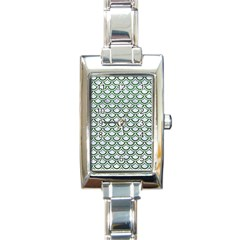 Scales2 White Marble & Green Leather (r) Rectangle Italian Charm Watch