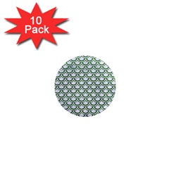Scales2 White Marble & Green Leather (r) 1  Mini Magnet (10 Pack)
