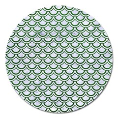 Scales2 White Marble & Green Leather (r) Magnet 5  (round)