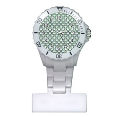 Scales2 White Marble & Green Leather (r) Plastic Nurses Watch