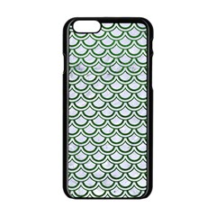 Scales2 White Marble & Green Leather (r) Apple Iphone 6/6s Black Enamel Case