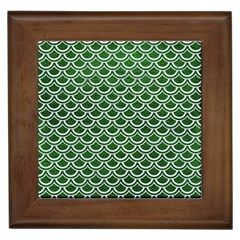 Scales2 White Marble & Green Leather Framed Tiles