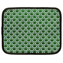 Scales2 White Marble & Green Leather Netbook Case (large)