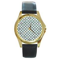 Scales1 White Marble & Green Leather (r) Round Gold Metal Watch