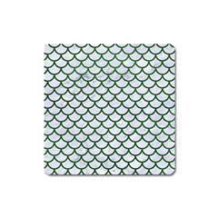 Scales1 White Marble & Green Leather (r) Square Magnet