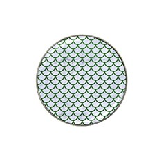 Scales1 White Marble & Green Leather (r) Hat Clip Ball Marker