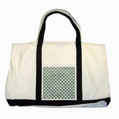 Scales1 White Marble & Green Leather (r) Two Tone Tote Bag