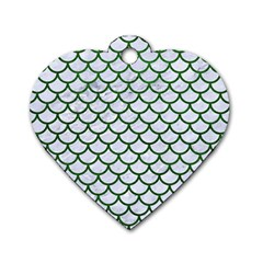 Scales1 White Marble & Green Leather (r) Dog Tag Heart (one Side)