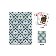 Scales1 White Marble & Green Leather (r) Playing Cards (mini)