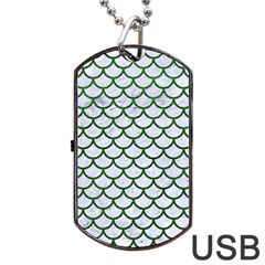 Scales1 White Marble & Green Leather (r) Dog Tag Usb Flash (one Side)