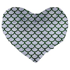 Scales1 White Marble & Green Leather (r) Large 19  Premium Flano Heart Shape Cushions