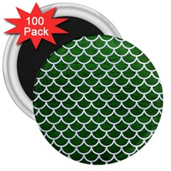 Scales1 White Marble & Green Leather 3  Magnets (100 Pack)
