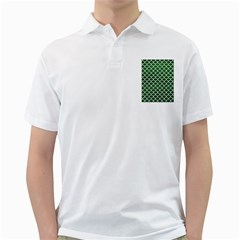 Scales1 White Marble & Green Leather Golf Shirt