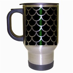Scales1 White Marble & Green Leather Travel Mug (silver Gray)