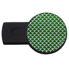 Scales1 White Marble & Green Leather Usb Flash Drive Round (4 Gb)