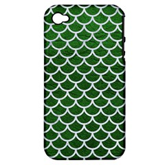 Scales1 White Marble & Green Leather Apple Iphone 4/4s Hardshell Case (pc+silicone)