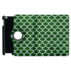 Scales1 White Marble & Green Leather Apple Ipad 2 Flip 360 Case