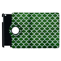 Scales1 White Marble & Green Leather Apple Ipad 3/4 Flip 360 Case