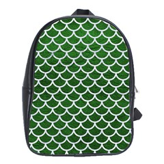 Scales1 White Marble & Green Leather School Bag (xl)