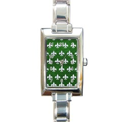 Royal1 White Marble & Green Leather (r) Rectangle Italian Charm Watch